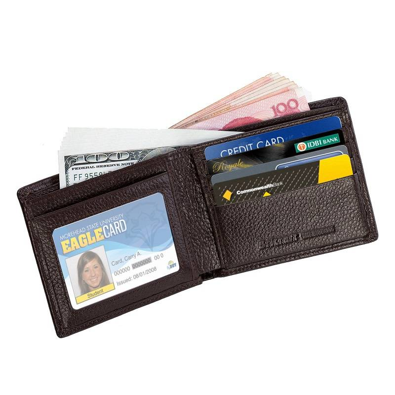 Security Design Bifold RFID Blocking Security Wallet Rfid Leather Clutch