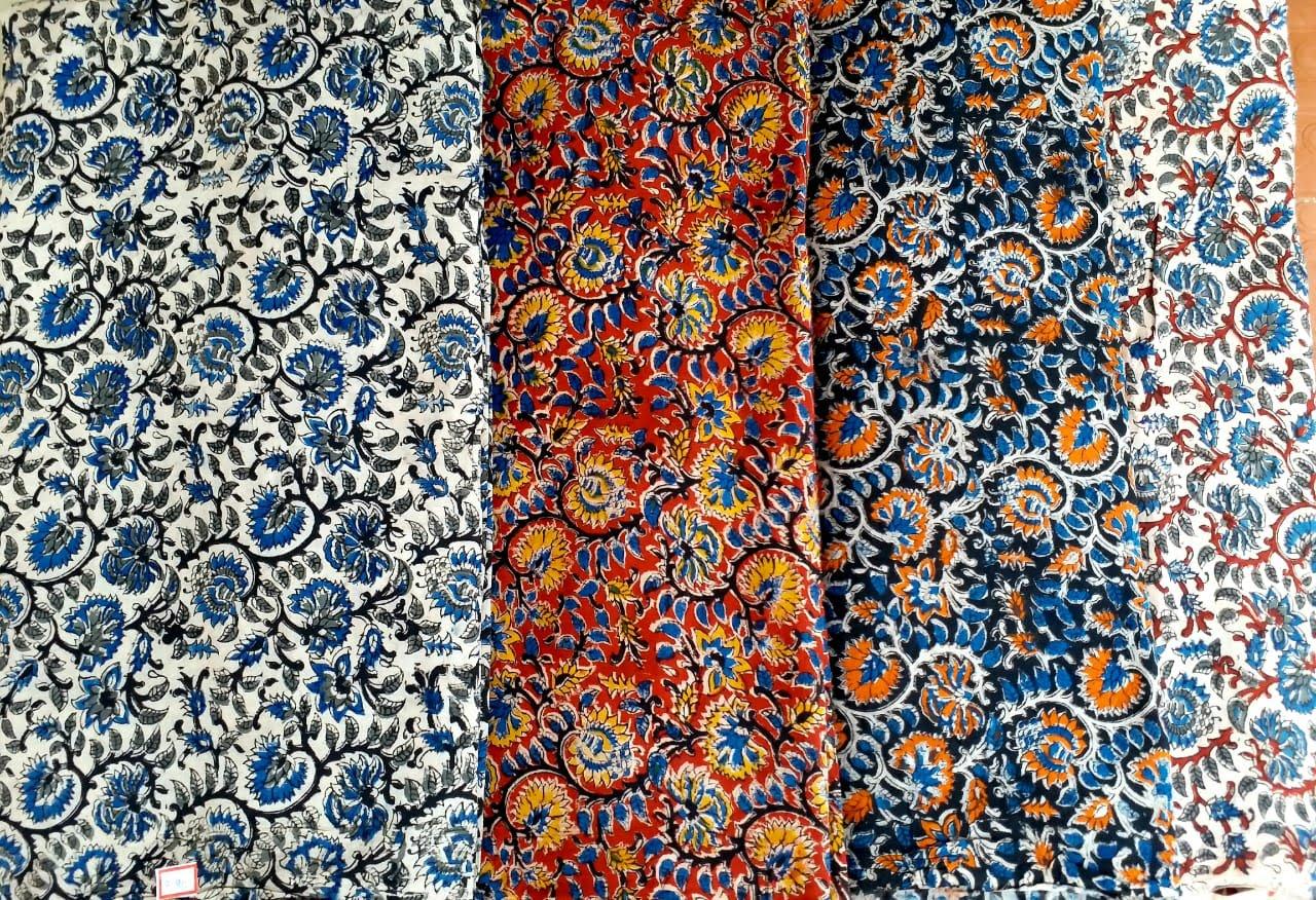 Kalamkari hand blocked silk fabric