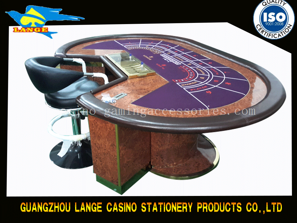 Luxury Casino Baccarat Table Wooden PU Leather with LCD Screen