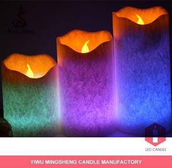 3piece Ivory wick led candle wholesale