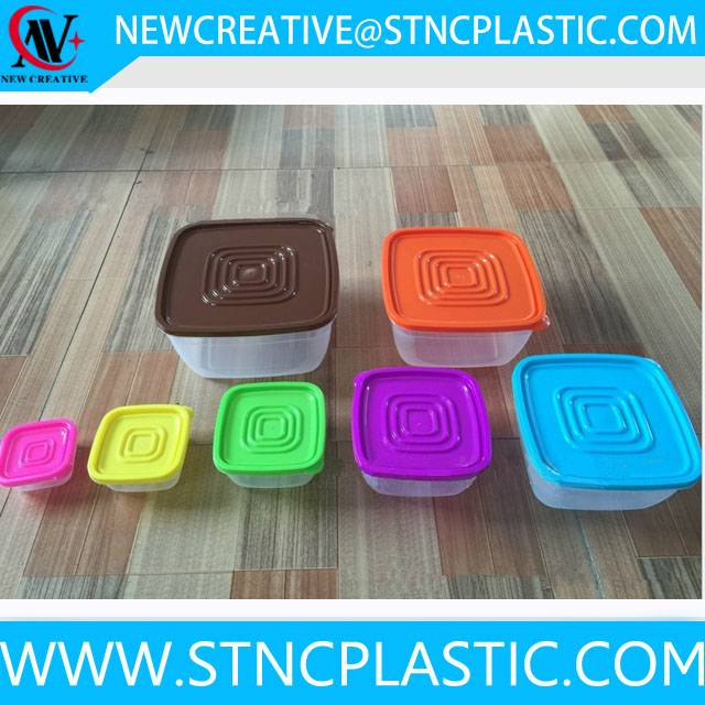 new product colorful plastic food storage container set with lid 7pcs