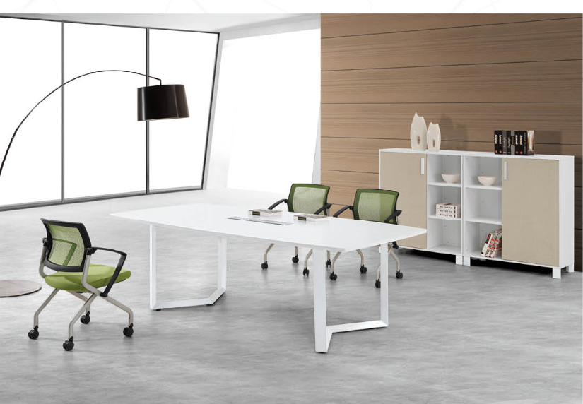 simple office table design,2.5mwooden table with metal legs(PG-16D-24A)