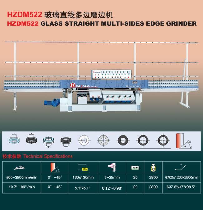 Huatian Glass Machinery/HZDM522 Glass Straight-Line Multi Edge Grinder