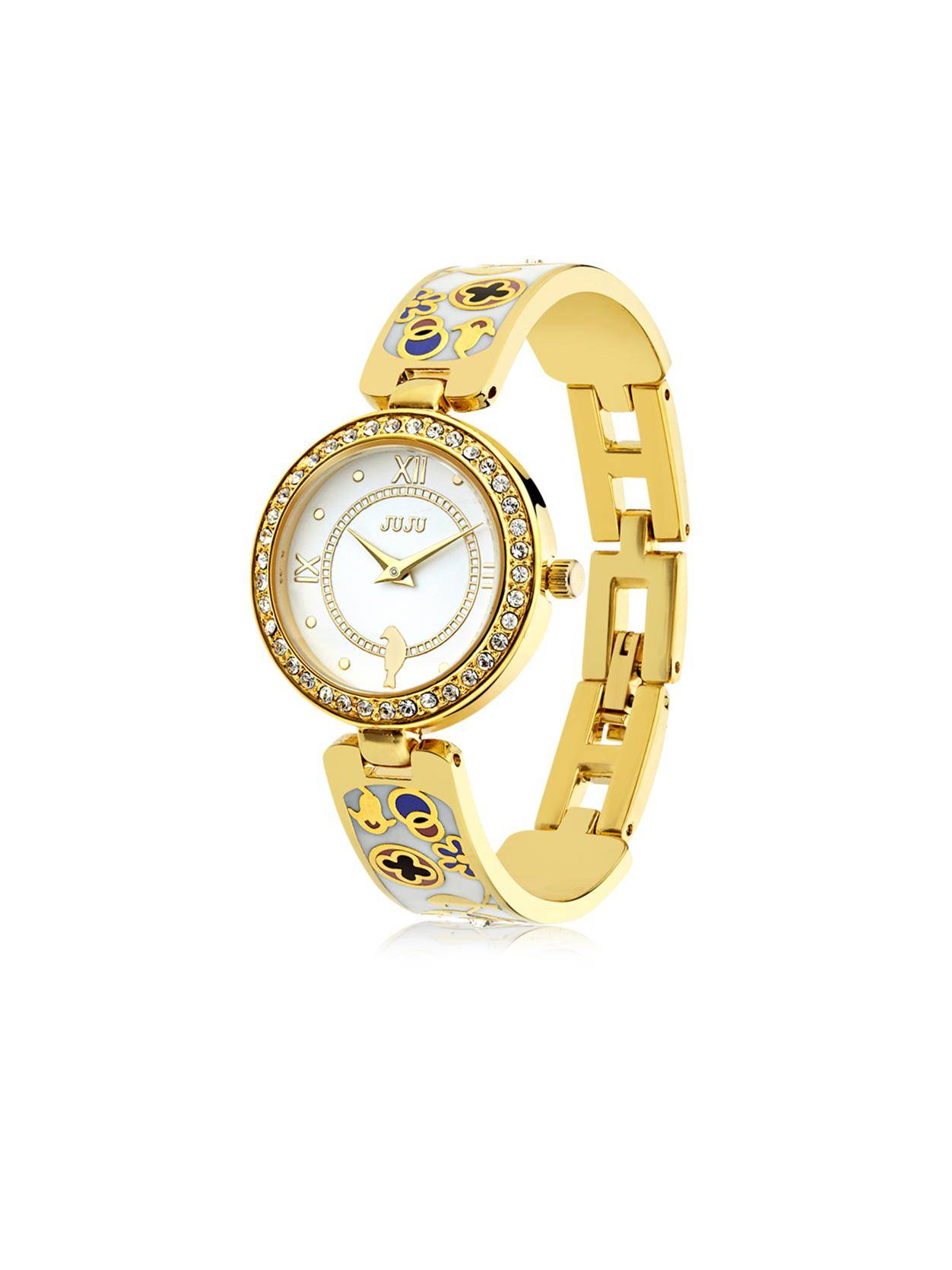 Flower world watch-18K gold plating metal watch with enamel