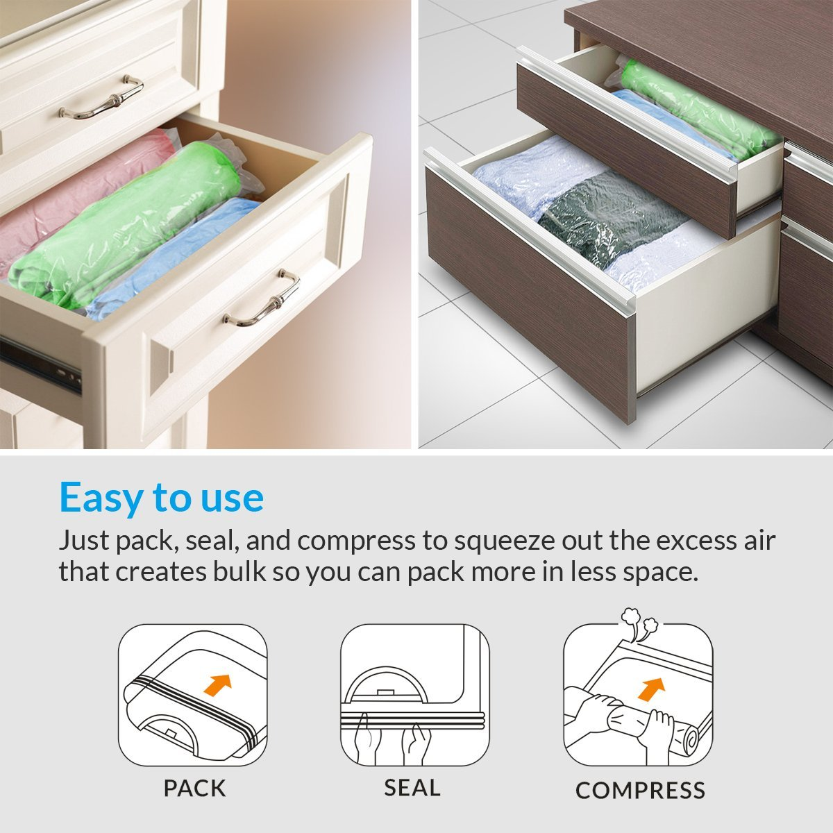 Carry-on vacuum seal bags