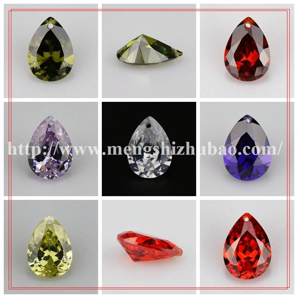 champagne pear shape loose cz with hole for jewelry making