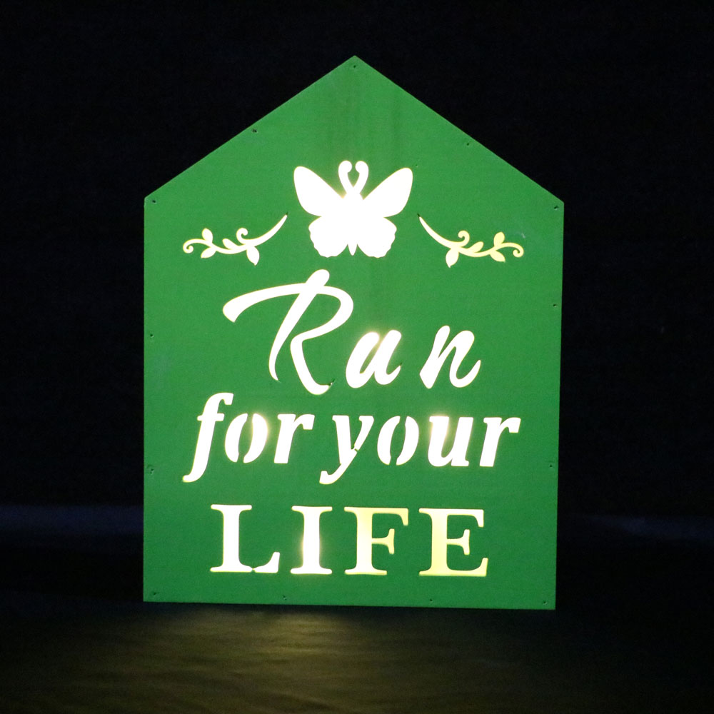 green wall plague with run for your life home party decoration led lighting