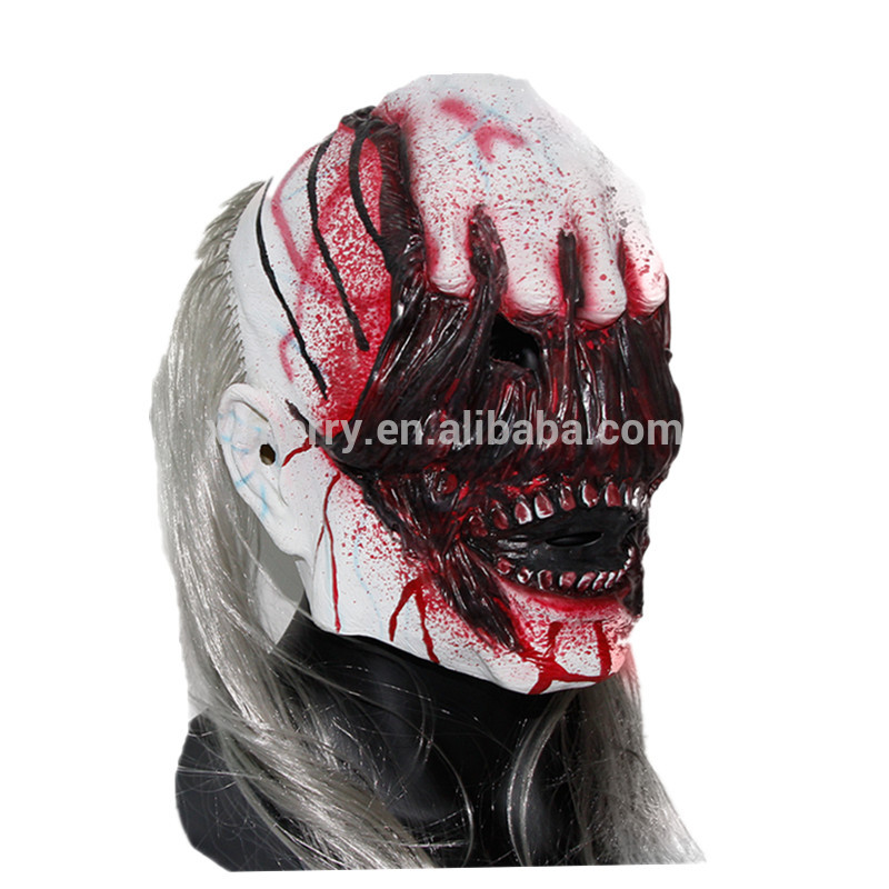 X-MERRY TOY Horror Rotface Scary Zombie With Long Hair Devil Ghost Mask For Halloween Cosplay Costu