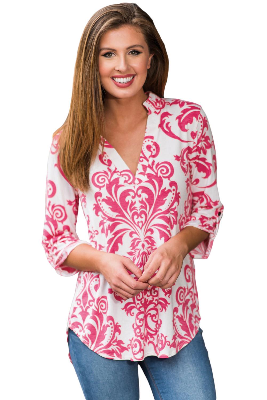 Pink Damask Print Slight Collar V Neck Blouse