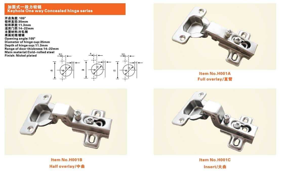 Keyhole One way Concealed hinge series