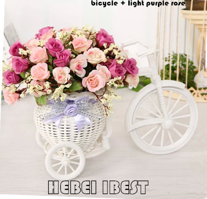 Artificial Flower with Rattan Plaited Bicycle for Home Decor
