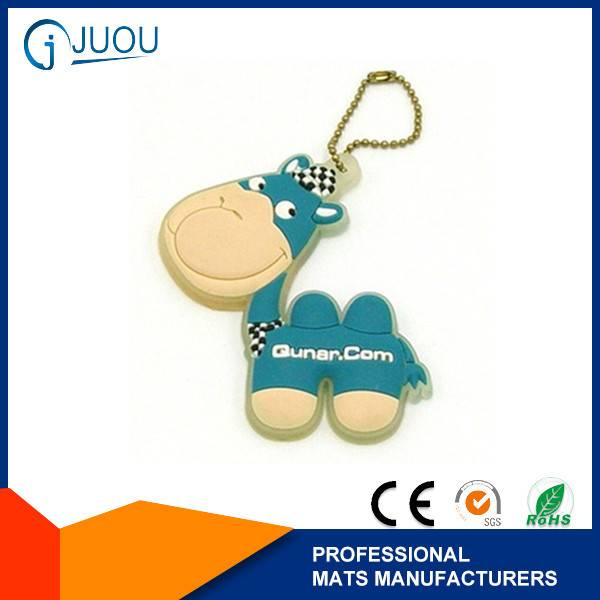 Cute little donkey 2d custom shaped soft pvc keychain for bag