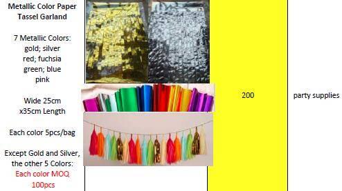 Offer Metallic Color Paper Decoration Tassel Garland
