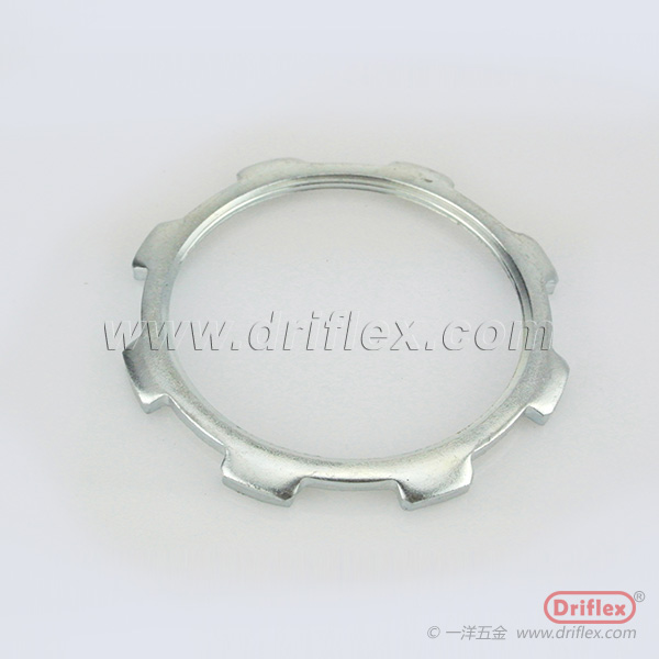 Die casting lock nut for liquid tight conduit fittings installation on power distribution box