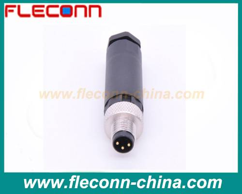 3 pin M8 connector male plastic shell screw terminals Field Mountable Plug