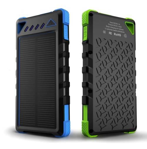 solar power bank 8000mah, dual usb waterproof solar phone charger