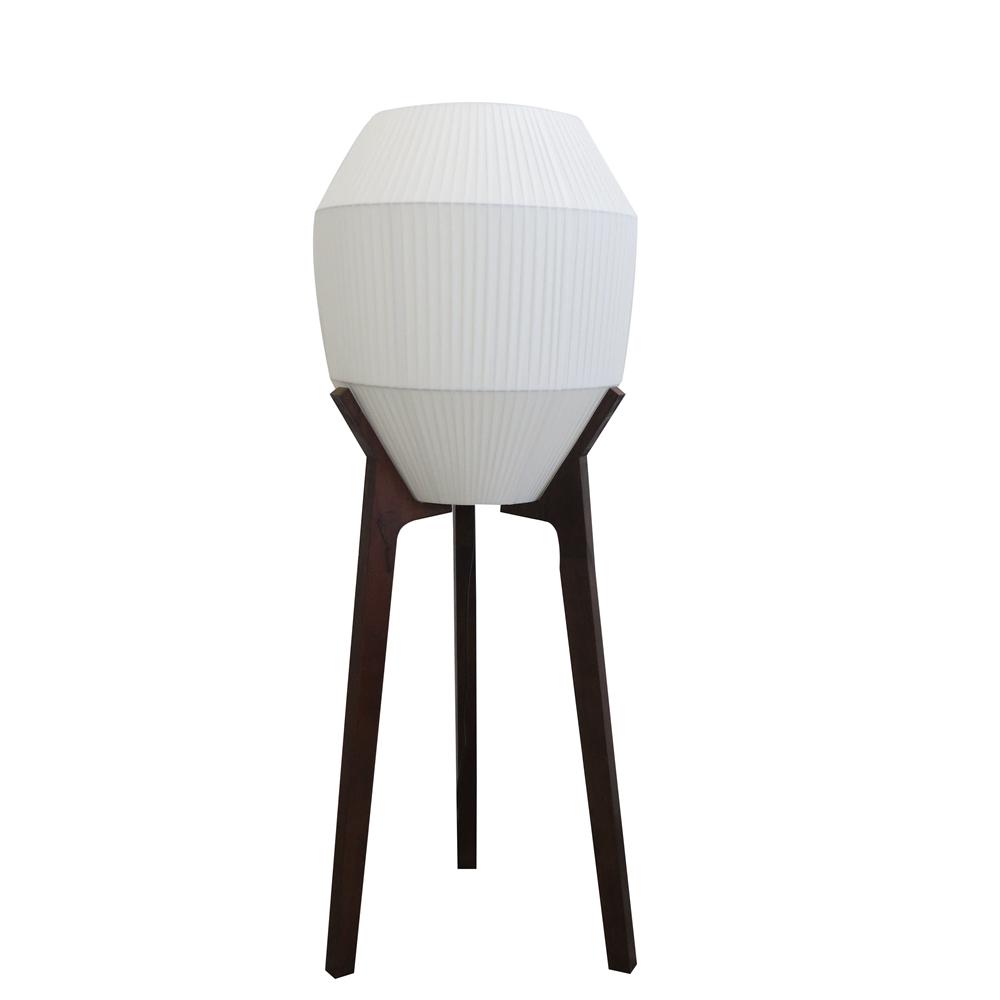 Walnut wood tripod floor lamp