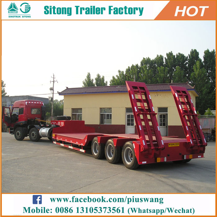 Factory price 3 axles lowbed semi trailers heavy duty 50-120 tons low bed trailer for sale