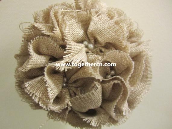 vintage linen flower ball for wedding