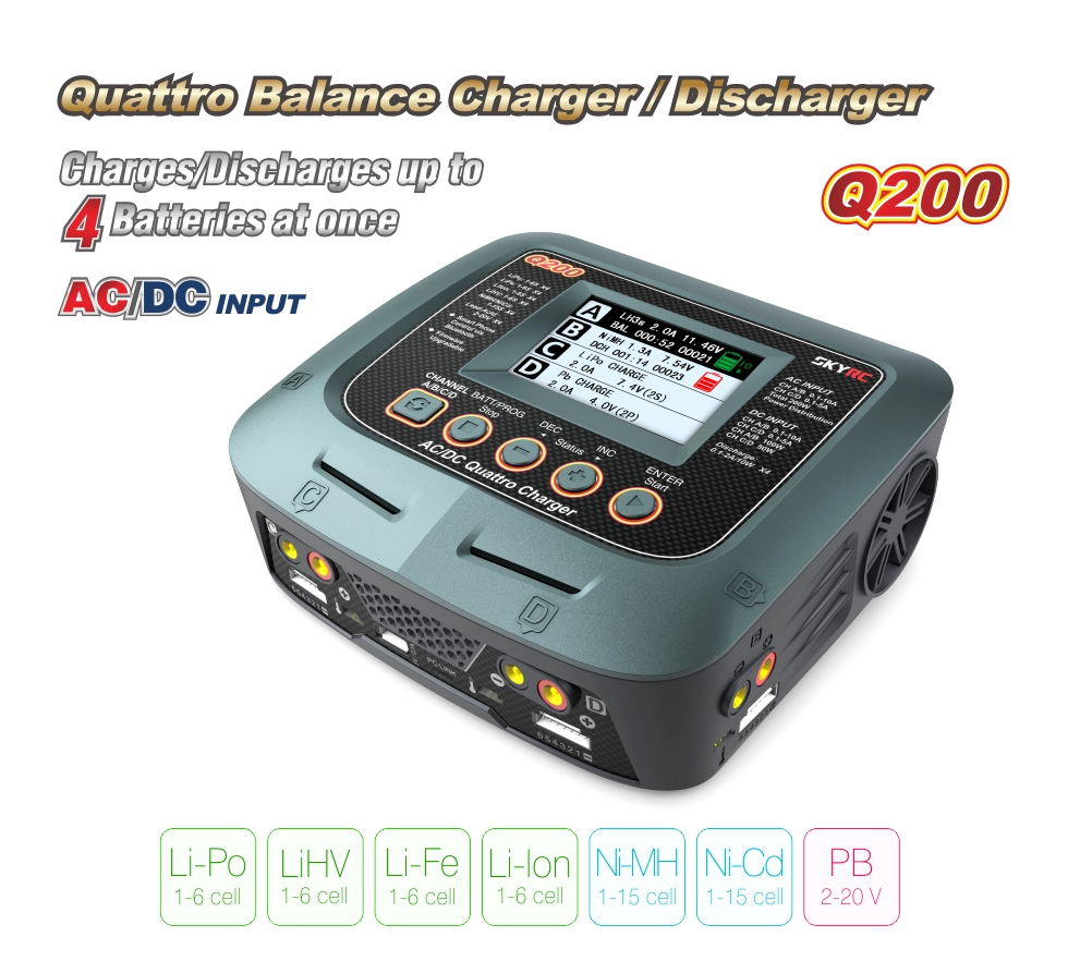 SkyRC Quad channel Q200 Balance charger Support Power Distribution