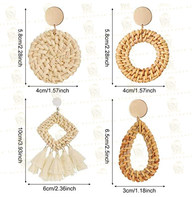 Rattan Earrings Lightweight Geometric Statement Tassel Woven Bohemian Earrings