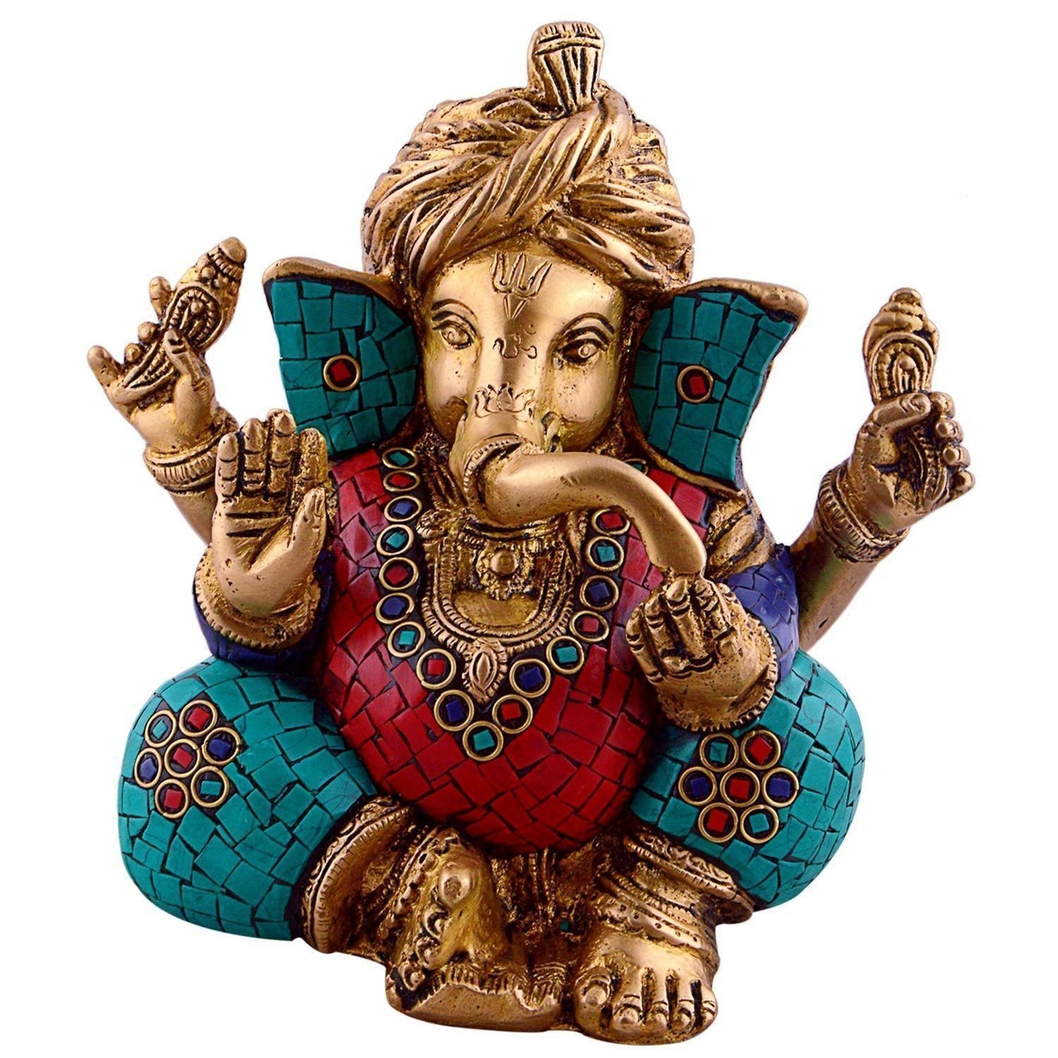 Turquoise Lord Ganesha Wearing Turbon Brass Metal Statue