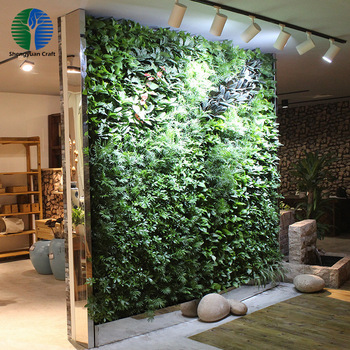 Mixed fake plant , plastic grass artificial green wall