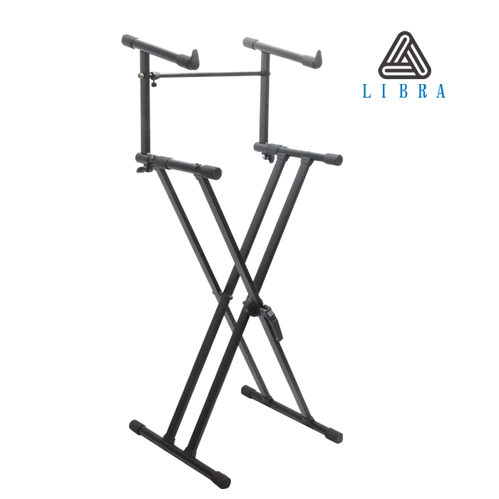 Libra Black Metal Double X 2 Tiers Keyboard Stand KS-10