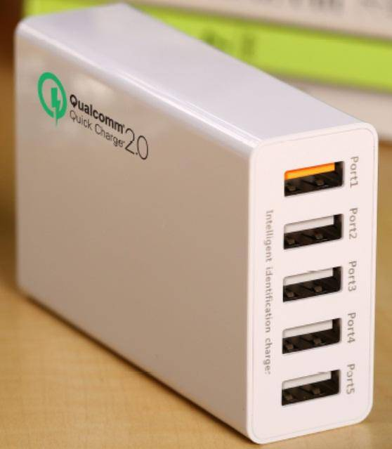 5 ports Desktop Charger with 1*QC2.0+4*Smart IC