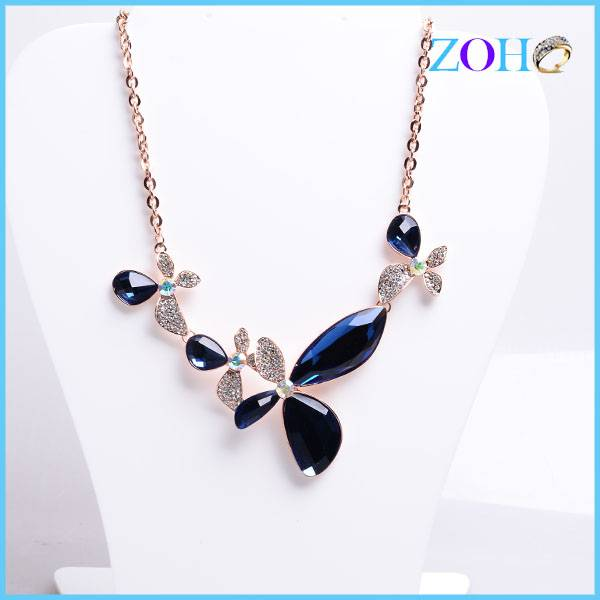 2016 new crystal butterfly necklaces gold plating sweater chain necklace accessories