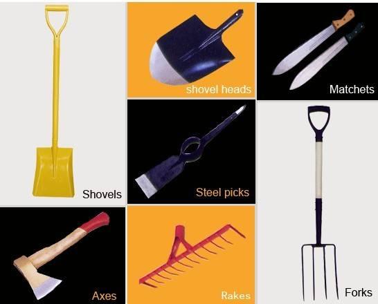 shovel fork rake pickaxe hoe hammer