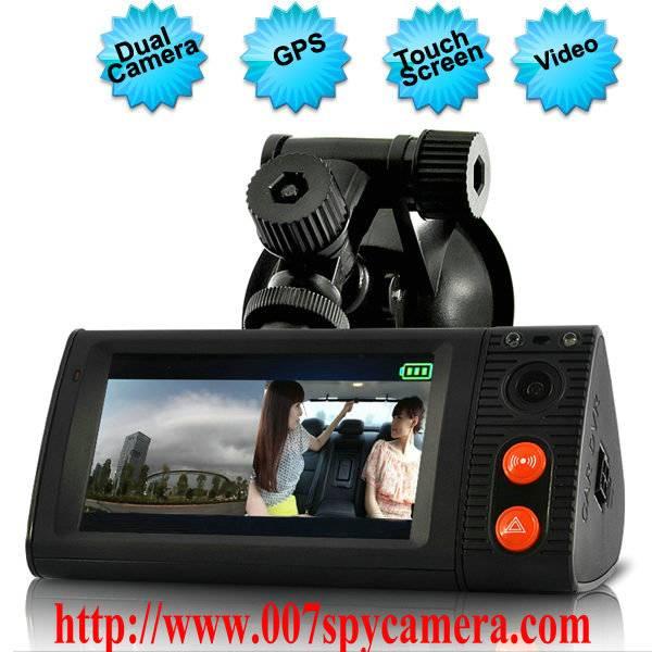 Dual Camera Car Blackbox DVR With 3 Inch Touchscreen GPS Logger And 3D G-Sensor LM-CV727