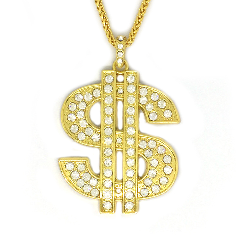 Dollars Symbals Pendants Necklaces Men's Zircon HipHop Jewelry With 4MM cz Chains