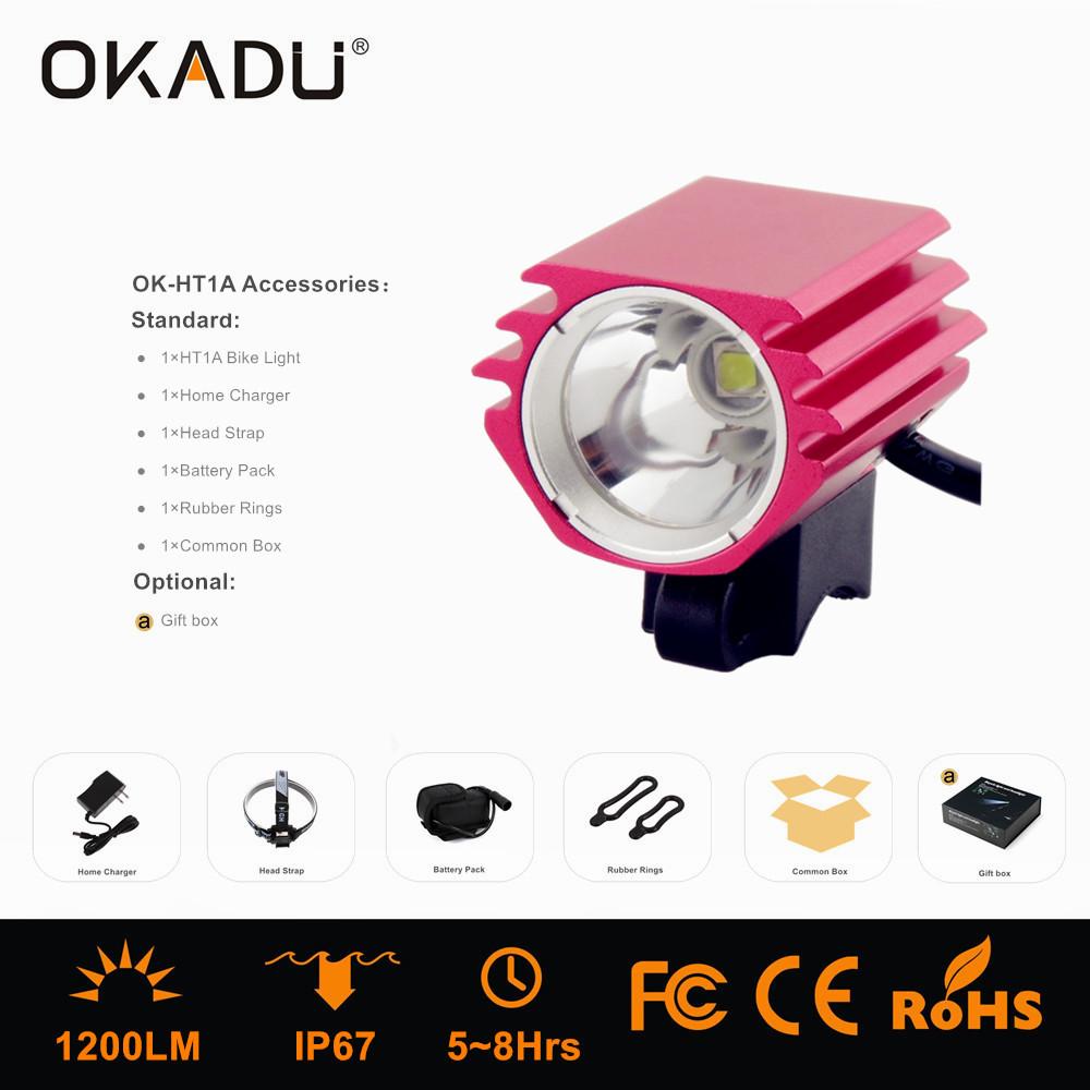 OKADU HT1A Super Bright Cree XM-L T6 LED Source Front Bicycle Light 1200Lumens Bike Light
