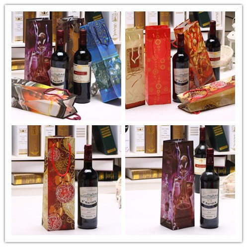 Solid Wine Bottle Bag Gift Wedding Party Shopping Festive Gift Juice Oil Bottle Holder Xmas Bags