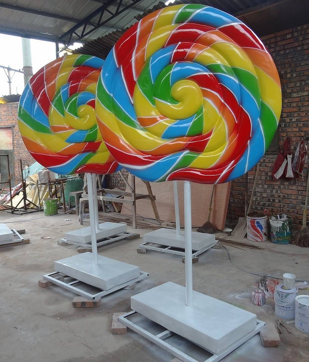 Fiberglass Bowknot Lollipop Candy Statue for Park Playground