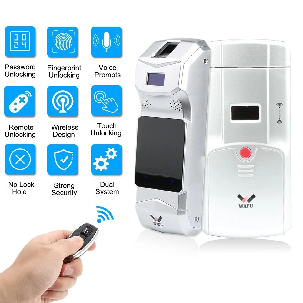 WAFU Wireless Fingerprint Password Door Lock, Invisible Remote Control Door Lock for Home, Hotel
