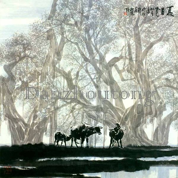 China traditional painting summer countryside landscape ceramic tiles