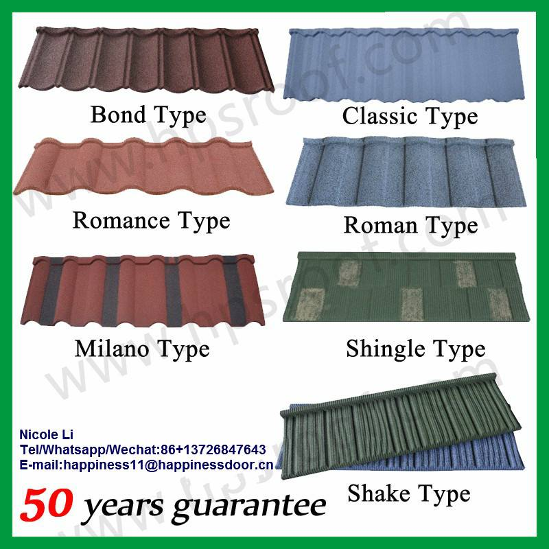 Free sample color coated stone roof sheet Africa hot sale stone coated metal roof tiles