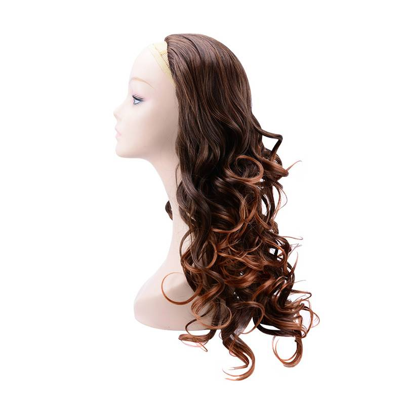 Brown long curly half wig