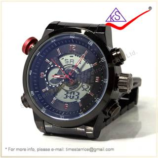Hot Selling Men Watch LED Digital Analog Sports Wristwatch 30m Water Resistant Stainless Steel