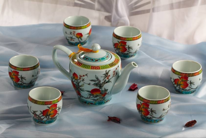 Peach pattern ceramic coffee & tea sets