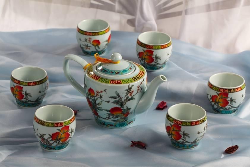 Peach pattern ceramic coffee & tea sets