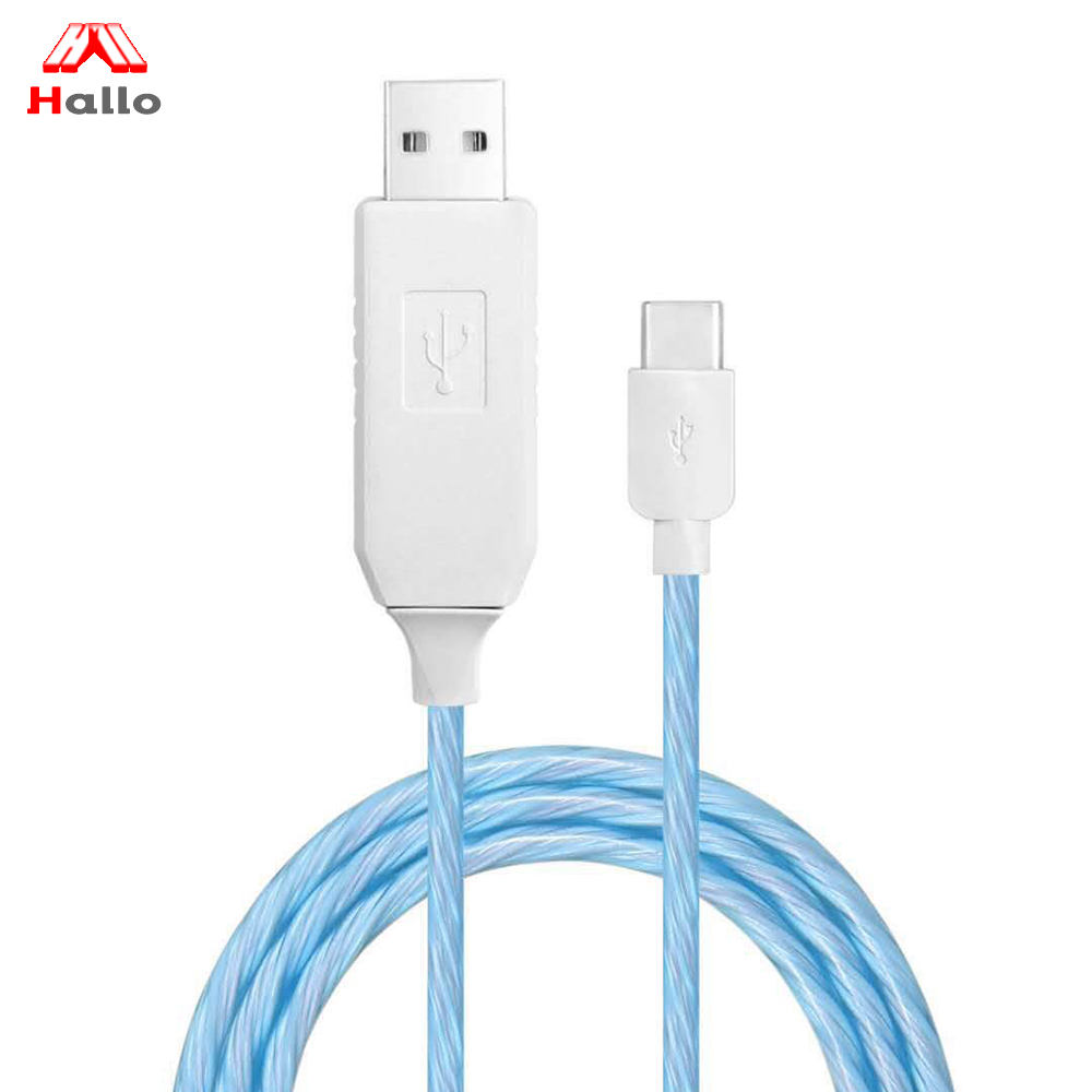 Colorful Micro-B USB 2.0 Cable, 3 Ft Visible Flowing EL LED Light Charging Cable & Sync Data