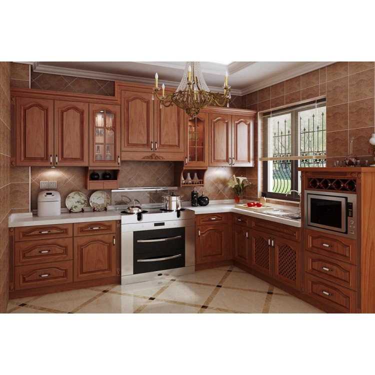 Classic style solid wood kitchen cabinet K006