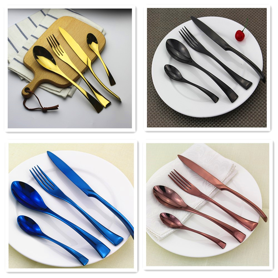 Classic style 20pcs royal rose gold cutlery set stainless steel, pvd coating flatware, titanium plat