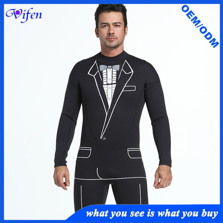 classic 3mm mens wetsuit surfing suit with white pattern cool design