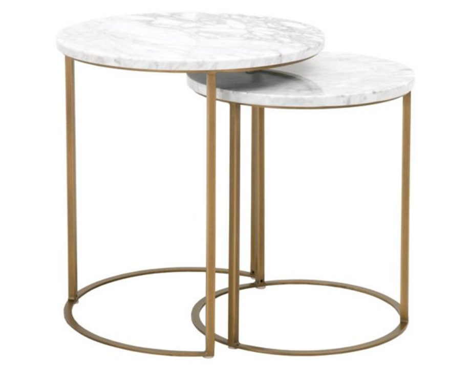Stainless steel nesting tables for living room or bedroom decor