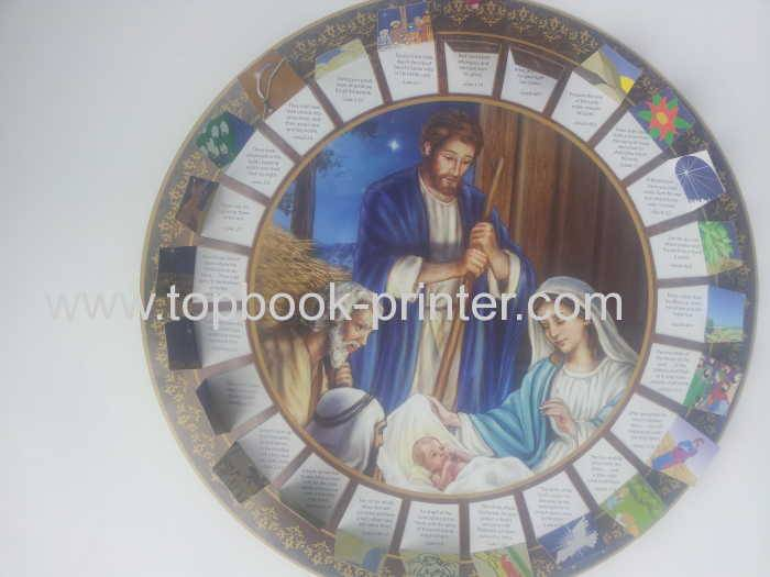 Custom round paper-clock Christian Advent Calendar with silk ribbons applied for printing online