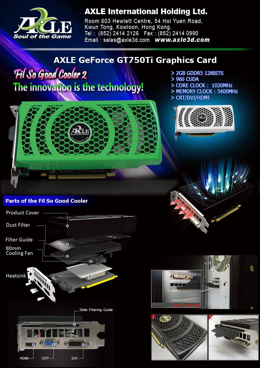 AX-GTX750Ti/1GD5P8CDI Graphics card/